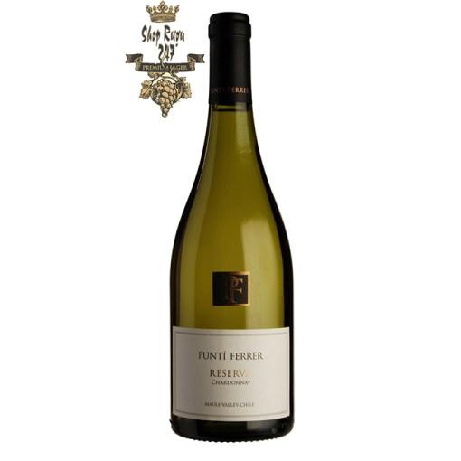 Vang Chile Trắng Punti Ferrer Reserva Chardonnay có màu vàng rực rỡ . Hương thơm của các loại trái cây vùng nhiêt đới của dứa