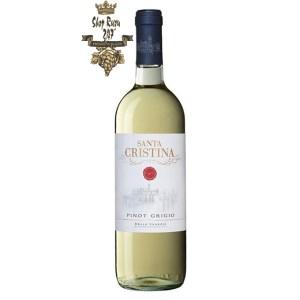 Rượu vang Ý trắng Santa Cristina Pinot Grigio Delle Venezie IGT với Hương táo xanh, cây thân thảo, bưởi, táo, dưa, dứa cùng với bơ, tiêu