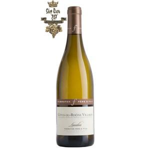 Rượu Vang Trắng Laudun Cotes du Rhone Villages Ferraton Pere & Fils có mầu vàng nhạt tươi sáng ánh xanh. Hương thơm