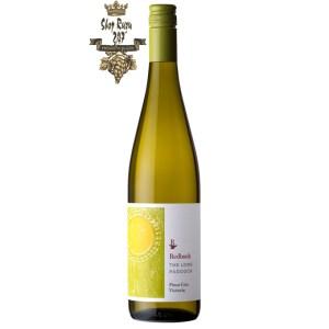Rượu vang Úc Redbank Long Paddock Pinot Grigio với màu vàng rơm pha xanh lá cây, nồng độ 13,5% và vị rượu tươi mới