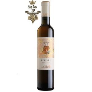 Rượu Vang Ý Feudo Arancio Hekate có màu vàng hổ phách. Đây là một dòng rượu tráng miệng,