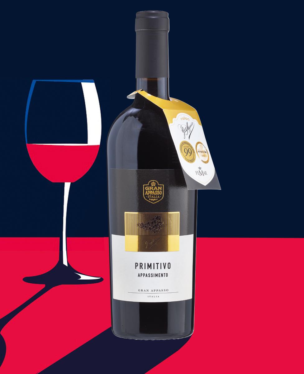 Rượu Vang Ý Gran Appasso Primitivo có màu đỏ ruby đậm cuốn hút., tựa như một rừng quả dại, mận chín, mâm xôi