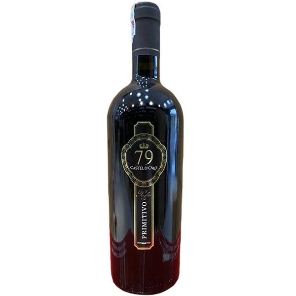 Vang Ý Đỏ 79 Castel Doro Primitivo khoác lên mình sắc đỏ ruby tỏng trẻo mà quyến rũ, bất cứ ai khi nhìn cũng bị say đắm bởi màu rượu quá đẹp