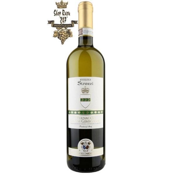 Rượu Vang Ý Trắng STROZZI có màu vàng đậm đà, mang hương vị của hoa và quả chín. Rượu có vị ấm
