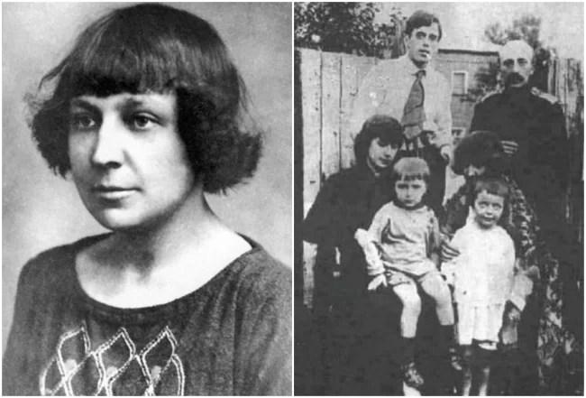 Марина Цветаева; Сестры Цветаевы с детьми и мужьями, Маврикий Минц — справа