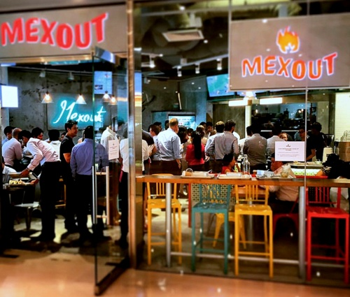 Mex Out Mexican restaurant at Marina Bay Link Mall in Singapore.
