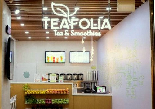 Teafolia Tea & Smoothies bar at Northpoint City mall in Singapore.