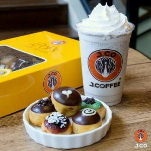 J.CO Donuts & Coffee's JPOPS mini donuts and coffee, available in Singapore.