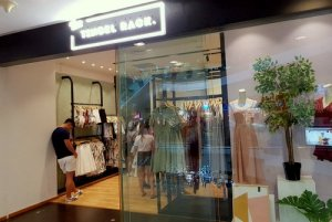 The Tinsel Rack clothing store at Tampines 1 mall in Singapore.