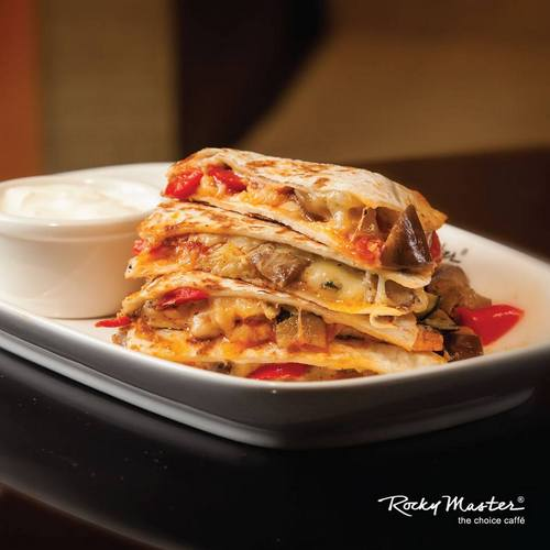 Rocky Master cafe-restaurant's Chicken & Mushroom Quesadilla meal, available in Singapore.