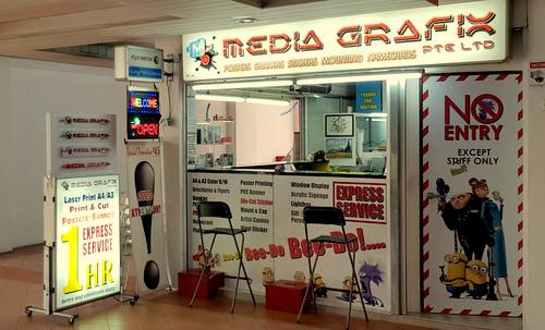 Media Grafix print shop at Bras Basah Complex in Singapore.
