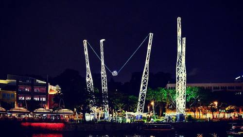 GX-5 Reverse Bungy tourist attraction at Clarke Quay in Singapore.