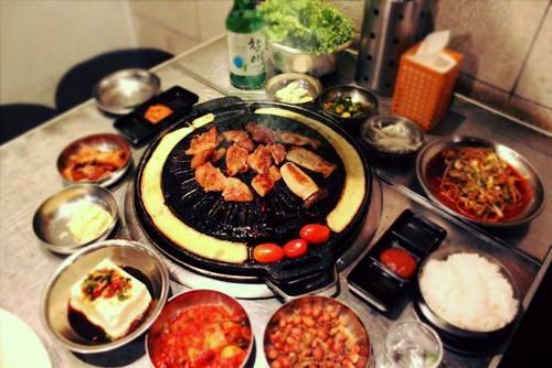Korean BBQ at Wang Dae Bak Korean BBQ Restaurant in Singapore.