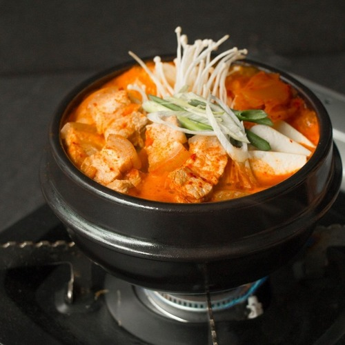 Ajumma's Kimchi Pork Belly Stew meal, available in Singapore.