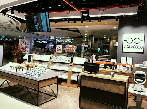 J Glasses optical shop at Eastpoint Mall in Singapore.