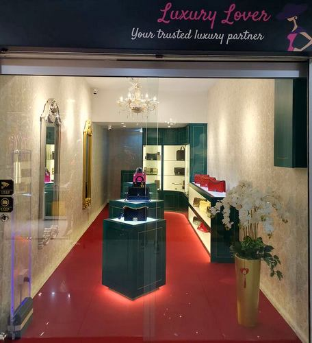 Luxury Lover bag shop at Far East Plaza mall in Singapore.