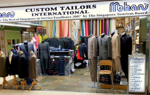 Mohan's Custom Tailors shop at Far East Plaza mall in Singapore.