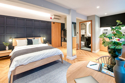 The Extra Large guest room at Hmlet Cantonment hotel in Singapore.