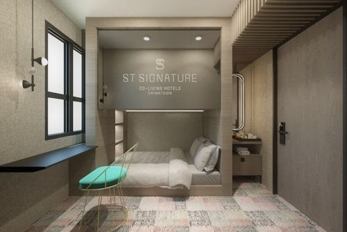 Guest room at ST Signature Chinatown hotel in Singapore.