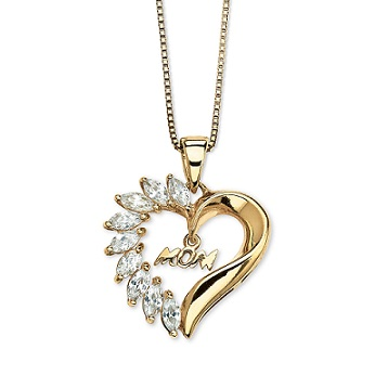135 tcw cubic zirconia mom heart pendant necklace in 18k gold over 135 tcw cubic zirconia mom heart pendant necklace mozeypictures Image collections