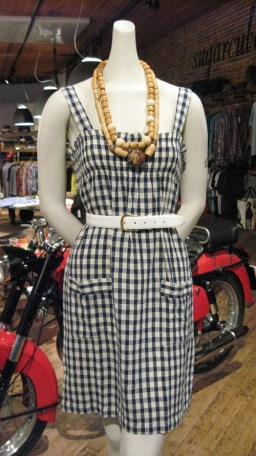 Madras. Gingham Dress. Cotton. Vintage Wood Necklaces
