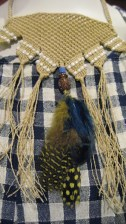 Madras. Gingham Smock Top. Cotton. Argentinian Macramé Necklace
