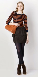 Striped Pullover. Bow Skirt