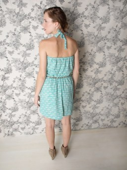Windy City Romper dress teal. back
