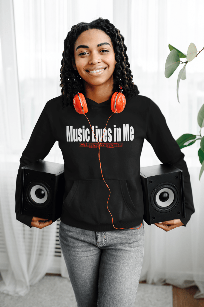 pullover hoodie mockup featuring a woman carrying two speakers 39075 r el2