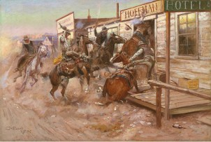 """Charles M. Russell """"In Without Knocking"""" 1909, oil on canvas Amon Carter Museum, Fort Worth, Texas 1961.201"""