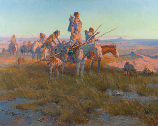 In the Wake of the Buffalo Runners, 1911, Charles M. Russell, oil on canvas, private collection