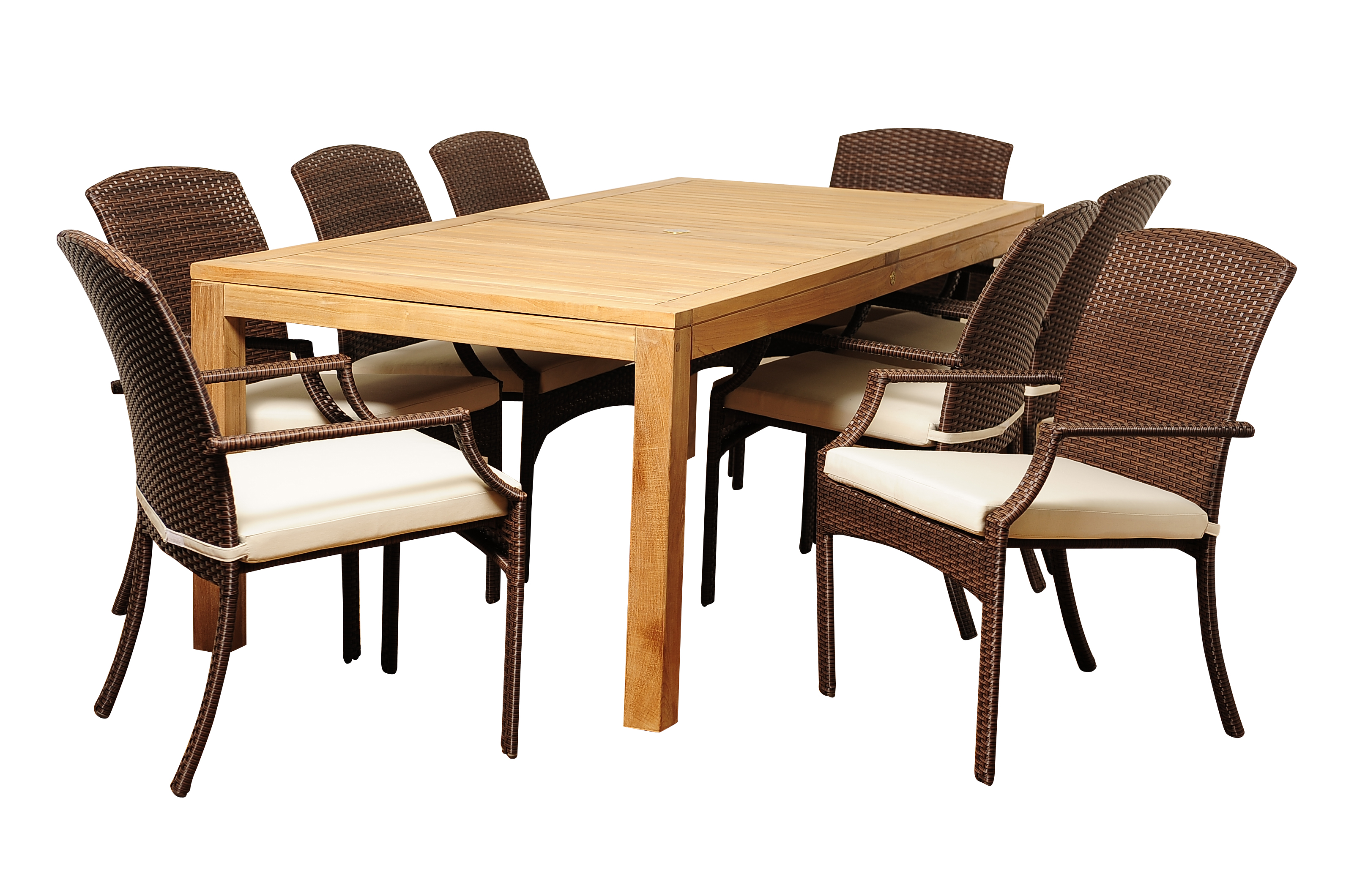 Royce 9 Piece Teak/Wicker Rectangular Dining Set With Off
