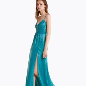 Abbigliamento Patrizia Pepe  Abito lungo in georgette laminata Cosmic Garden Green female collezione 2020 shop the look