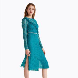 Abbigliamento Patrizia Pepe  Abito midi in pizzo Cosmic Garden Green female collezione 2020 shop the look