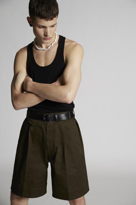 DSQUARED2 Uomo Shorts Verde militare Taglia 42 97% Cotone 3% Elastan