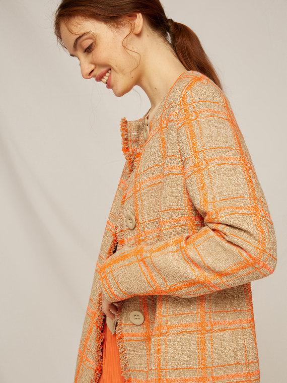 Caractere Cappotti e giacche > Cappotti e giubbotti Arancione - Caractère Cappotto checks Donna Arancione