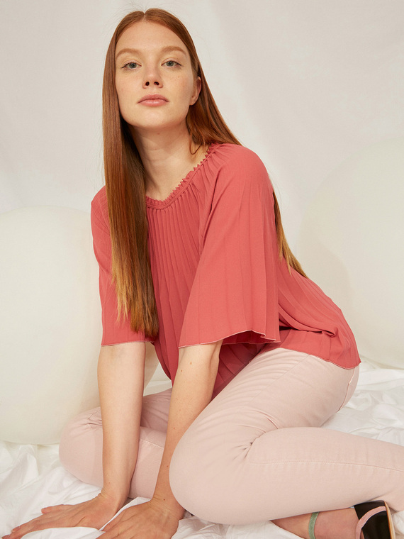 Caractere Abbigliamento > Camicie e bluse Rosa - Caractère Blusa plissé Donna Rosa