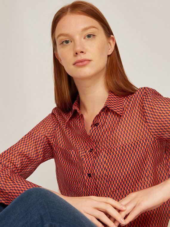 Caractere Abbigliamento > Camicie e bluse Arancione - Caractère Camicia dalla stampa optical Donna Arancione