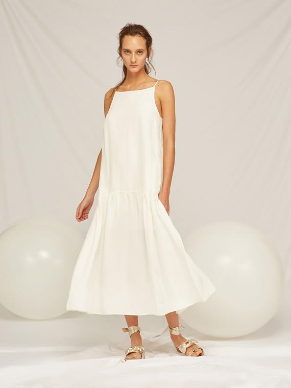 Caractere Abbigliamento > Abiti Bianco - Caractère Abito lungo con balza Donna Bianco