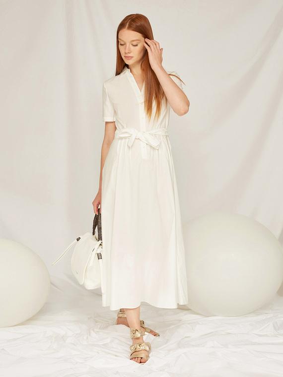 Caractere Abbigliamento > Abiti Bianco - Caractère Abito in cotone con cintura Donna Bianco