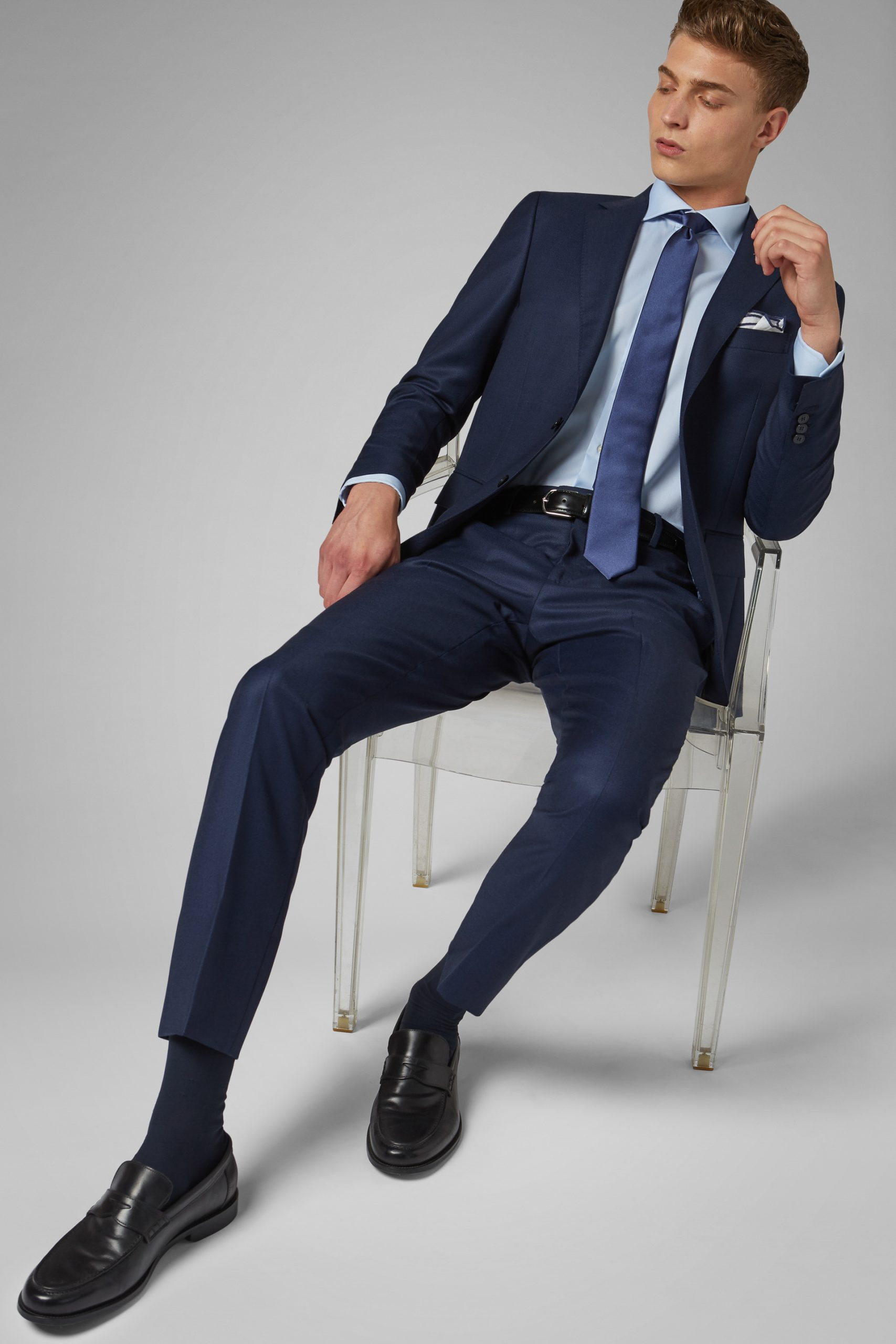 Giacca da abito da uomo in colore Bluette in materiale