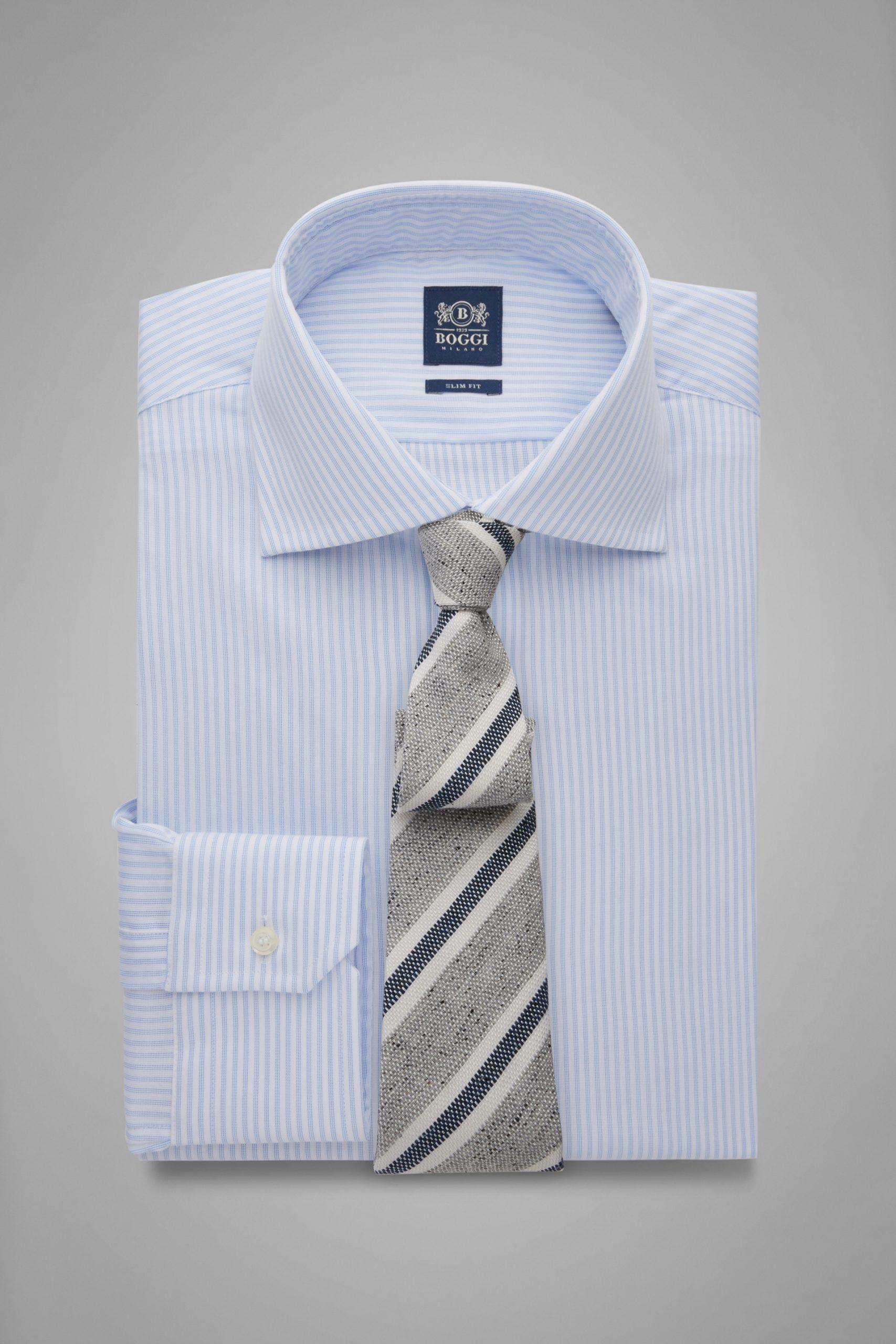 Camicie da uomo in colore Bianco Azzurro in materiale