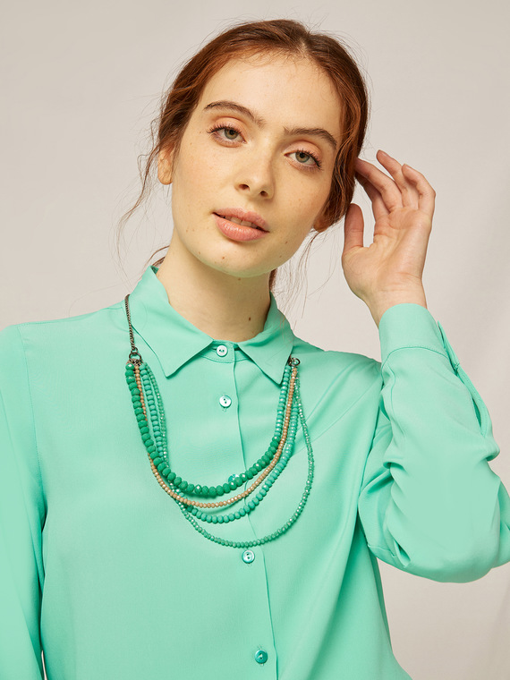 Caractere Accessori > Collane e bijoux Verde - Caractère Collana multifilo con cristalli Donna Verde