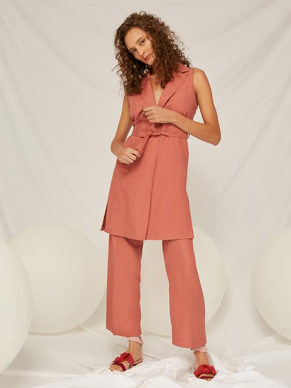 Caractere Cappotti e giacche > Giacche e blazer Rosa - Caractère Giacca lunga senza maniche in lino Donna Rosa