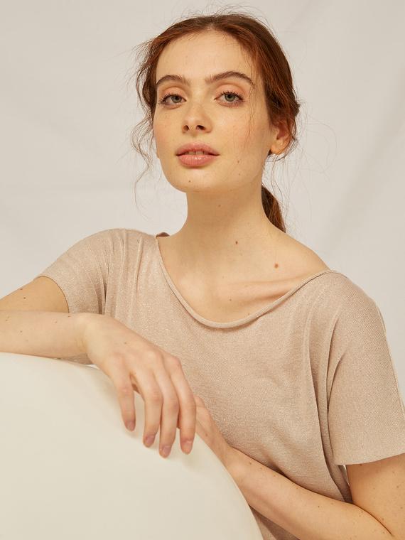Caractere Abbigliamento > Maglieria e tricot Beige - Caractère Maglia dritta lurex Donna Beige