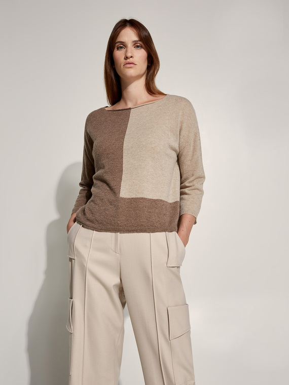Caractere New season preview Beige - Caractère Maglia color block in lana cashmere Donna Beige