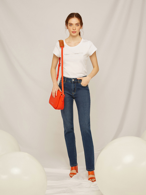 Caractere Abbigliamento > Pantaloni e jeans Blu - Caractère Jeans regular a vita alta Donna Blu