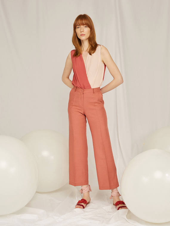 Caractere Abbigliamento > Pantaloni e jeans Marrone - Caractère Pantaloni dritti gamba larga Donna Marrone