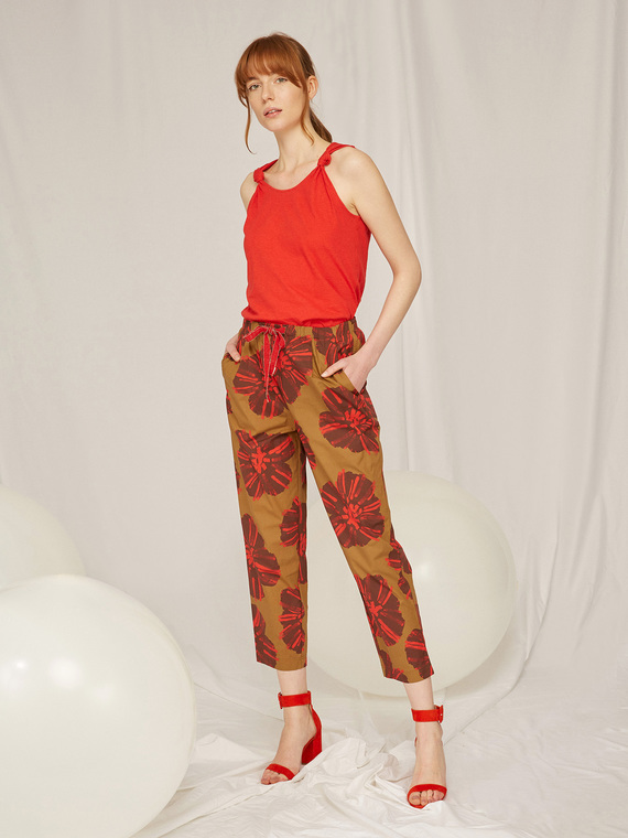Caractere Abbigliamento > Pantaloni e jeans Rosso - Caractère Pantaloni floreali Donna Rosso