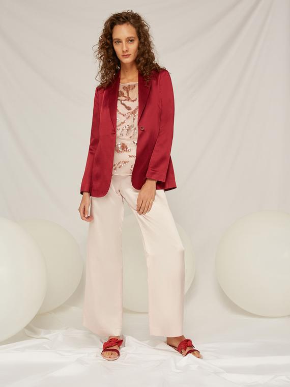 Caractere Cappotti e giacche > Giacche e blazer Rosso - Caractère Giacca blazer in satin Donna Rosso